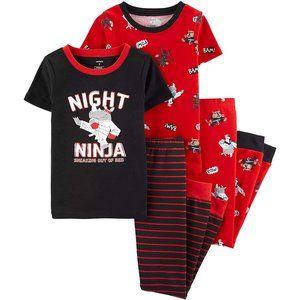 Carter's 4 piece  Boys Cotton Night Ninja Pajamas